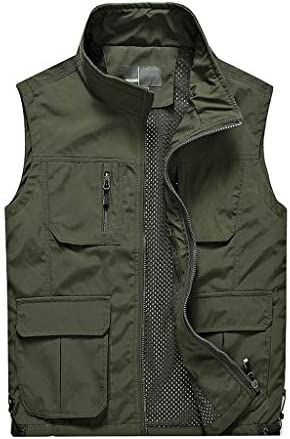 QIQIDEDIAN 釣りベスト 春と夏のベスト中高年のアウトドアレジャーマルチポケットルーズフィッシングベストベストメンズ服 (Size : 3XL)