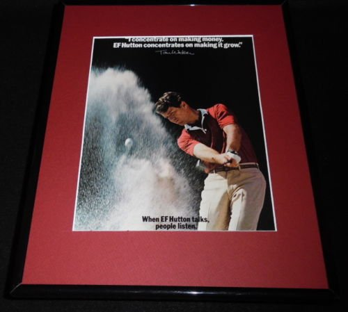 Tom Watson Facsimile Signed Framed 1983 Ef Hutton 11X14 Advertising Display