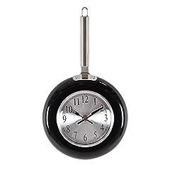 Deco 79 98435 Black Iron Frying Pan Wall Clock, Black/Silver