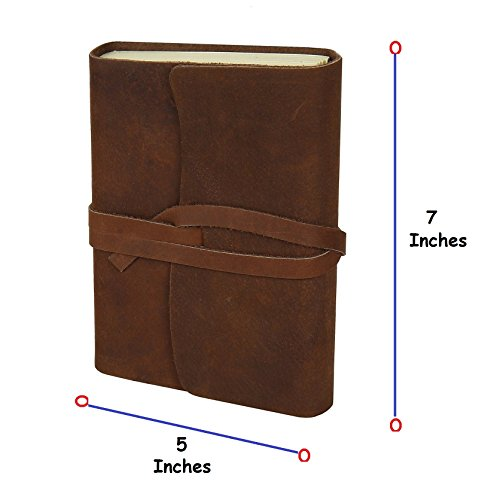 [Handmade Medium Vintage Leather Journal Diary Men Women Gift for Him Her] (Brown Leather Journal)