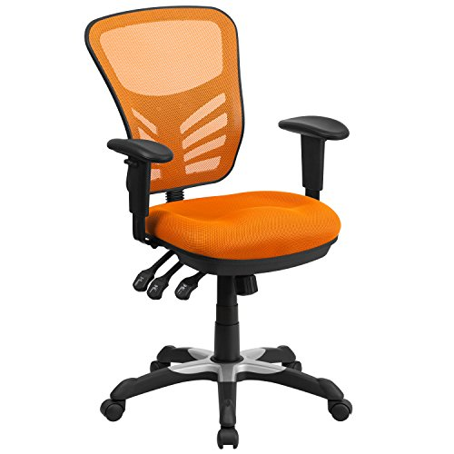Flash Furniture Mid-Back Orange Mesh Multifunction Executive Swivel Ergonomic Office Chair with Adjustable Arms