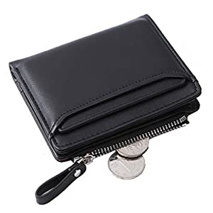 Altally Wallets for Women Small Bifold Leather Lady Short Wallet with Removable ID Card Holder Slots (Black)