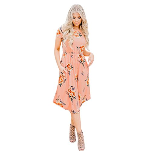- HODOD Women's Floral Print Round Neck Short Sleeves Long Maxi Casual Dress