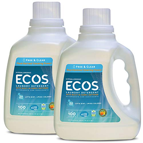 Earth Friendly Products Ecos 2x Liquid Laundry Detergent, Free & Clear, 100-Ounce Bottle (Pack of 2)
