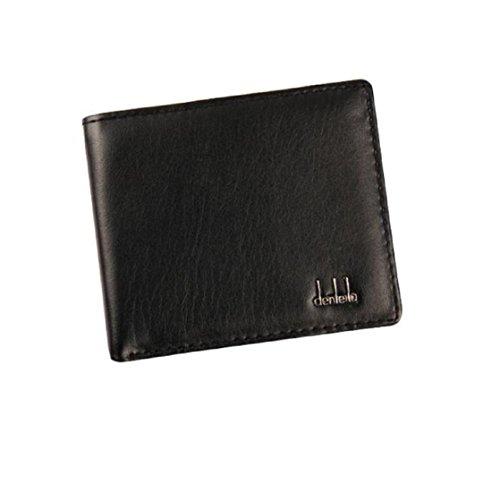 WOCACHI Herren Geldbörsen Männer Bifold Geschäfts Leder Geldbörse Kreditkarte Halter Geldbeutel Taschen (Schwarz)