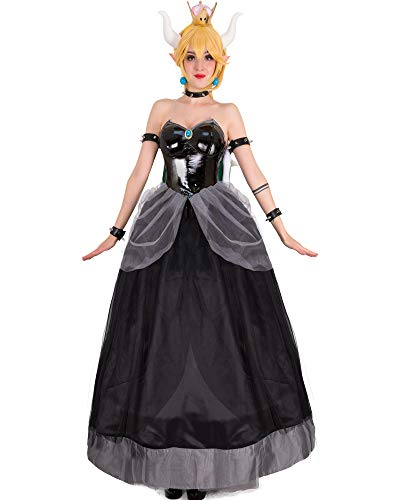 Cosplay.fm Women's Bowsette Princess Bowser Kuppa Hime Cosplay Costume Dress with Horn and Turtle Shell (S, Black)]()