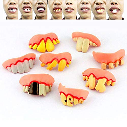 Dealglad® 8pcs /set Funny Rubber False Tooth Dentures Bucktooth April Fool Halloween Costume Party Prank Trick Props Jokes Toy ()