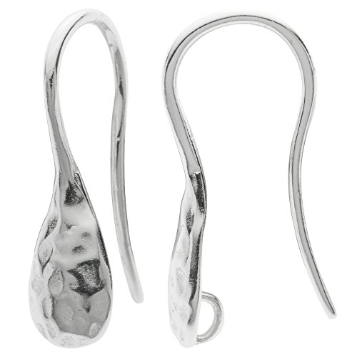 2 pcs 925 Sterling Silver Hammered Earwire French Hook Dangle Drop Earring - Wire Sterling French Silver Hammered