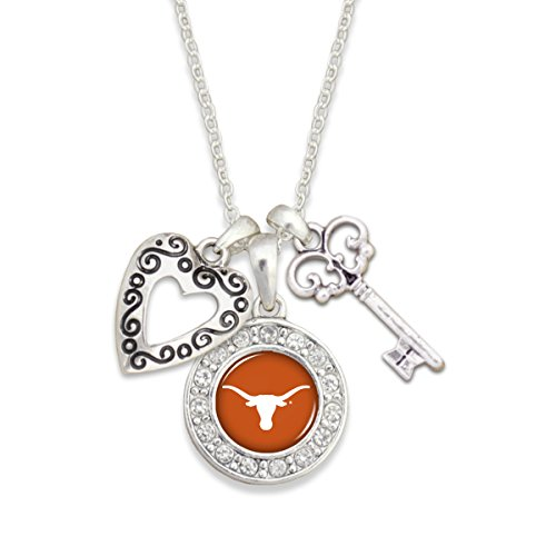 """Texas Longhorns 18"""" Silver Tone Necklace Featuring a Team..."""