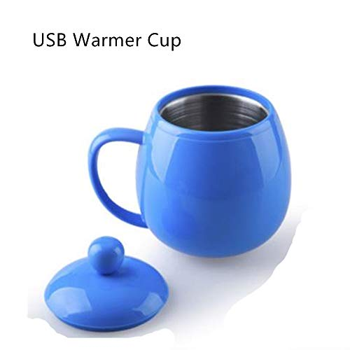USB Warmer Cup,Aulzaju Portable Electric Coffee Milk Tea Beverage Warmer Heater Cups Mugs Cute Cartoon Stainless Steel Glass for Home Office Desk Work-Blue