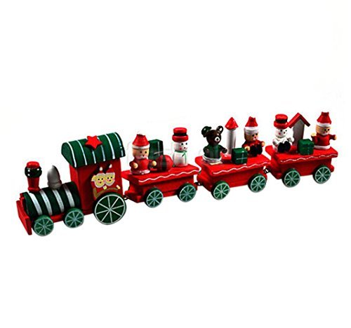 [Train Toy, Yasalu 4 Pieces Wood Christmas Xmas Train Decoration Decor Gift] (Pictures Of Pikachu Costumes)