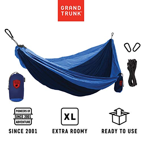 Grand Trunk Hammock - Camping Double, Tree Hanging Kit Included, Nylon, Portable, Indoor Outdoor, Travel, Backpacking, Survival, Navy/Light Blue (Grand Trunk Hammock Double)
