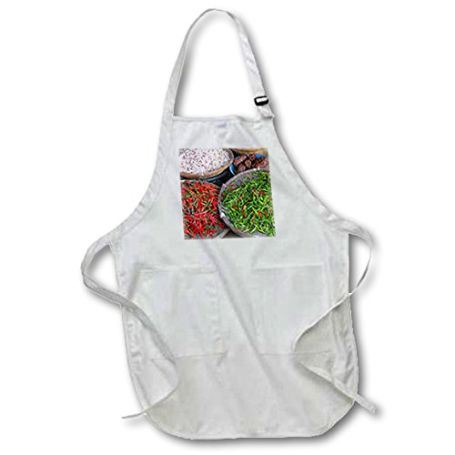 3dRose 3D Rose Thailand-Chiang Mai Thai Street Vendor of Green and Red Chilies Full Length Apron-with Pockets, 22 x 30, White