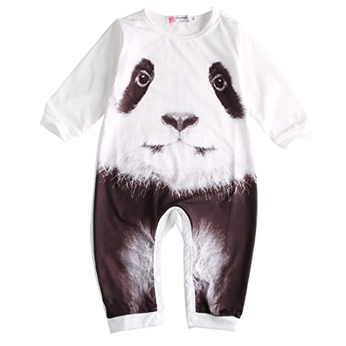 [Baby Boys Girls Long Sleeve 3D Tiger Panda Romper (0-6M, White)] (Panda Outfits For Babies)