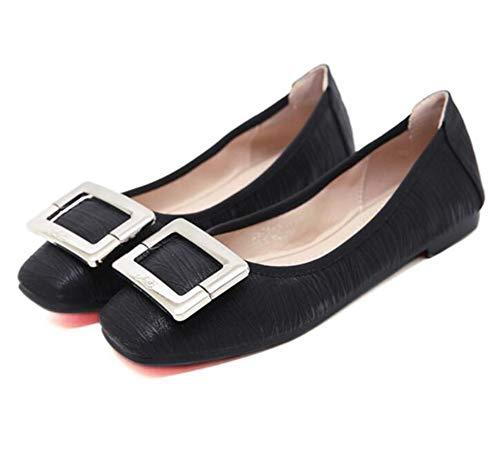 Zpl bouche peu chaussures ballerines plat chaussures de profondes élégant femmes mocassins occasionnels noir rqgSrx