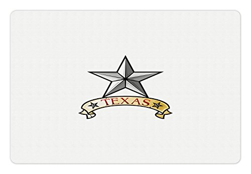 Lunarable Texas Pet Mat for Food and Water, Symbol of The State of Texas Antique Heraldry Icon National Honor Western Cowboy, Rectangle Non-Slip Rubber Mat for Dogs and Cats, Gray Red Khaki