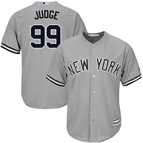 (Men's New York Yankees #99 Aaron Judge Gray Road Cool Base Player Jersey XXL)