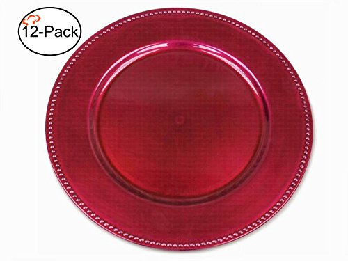Tiger Chef 13-inch Fuchsia Round Beaded Charger Plates Set of 2,4,6, 12 or 24 Dinner Chargers (12-Pack) ()