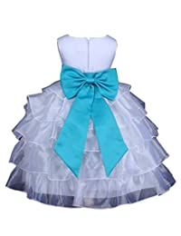 Prince Lover Girls' Wedding Tiered Organza Flower Dress With Bow