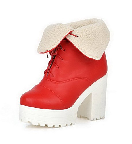 Allhqfashion Women's Soft Material Closed Round Toe Solid Low-Top High-Heels Boots Red OvxyZ7q
