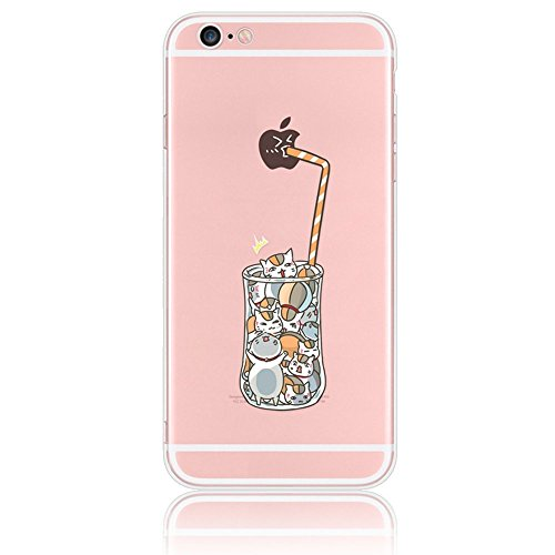 Case for iPhone 7, Sunroyal Cartoon Cover Protective TPU Silicone Soft Flexible Transparent Ultra-Slim with Anti-dust Plug Function (Adorable Drinks Cat Cup Straw with Funny Apple Pattern)