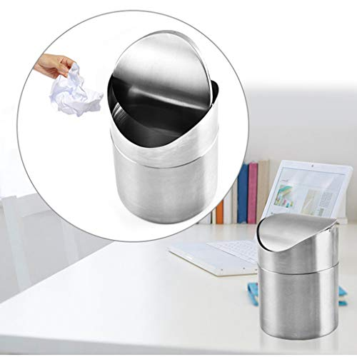 fashionclubs stainless steel desk trash