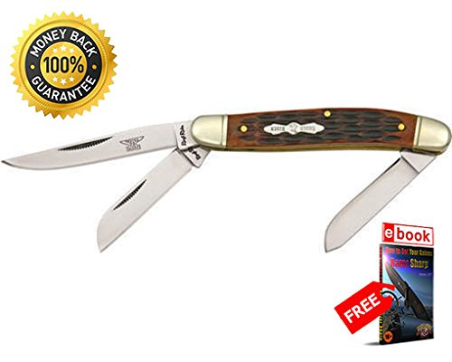 Rough Rider Folding Utility Knife 438 Folding Knife Stockman Amber Jigged Bone Handle 3 1 2'' razor sharp knife strong carbon blade survival camping hunting EDC military knife eBOOK by MOON KNIVES