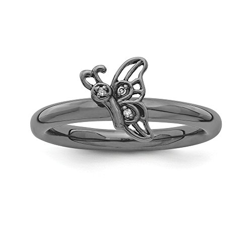 Sterling Silver Stackable Expressions Black-plated Butterfly w/Diamond Ring Size (Butterfly Pave Ring)