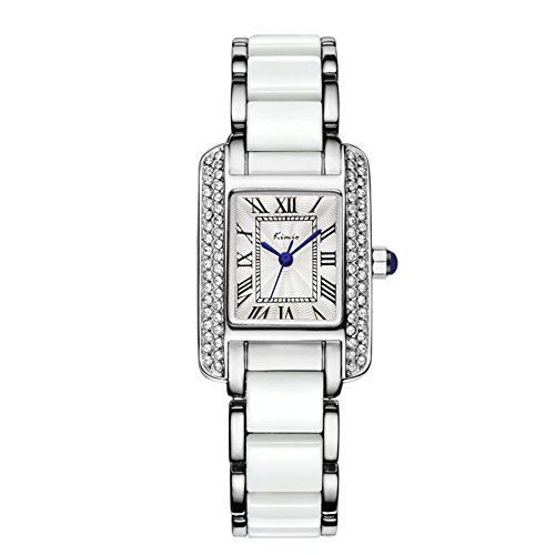 (Tidoo Lady's Dress Watch White Stainless Steel Ceramics Band,Rentangle Face Roman Numbers Wristwatch)