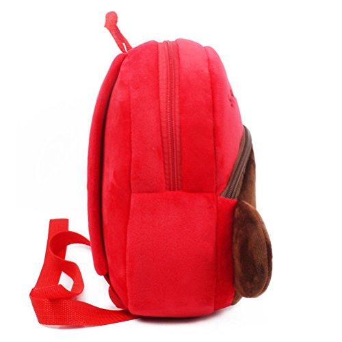 Tinksky Kids School Bag Plüsch Rucksack Vorschule Satchel Kleine Tasche Red Monkey Tier Plüsch Nursery Schulter Rucksack für Kinder 3-4 Jahre