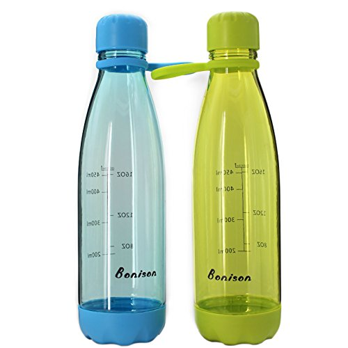Bonison Sports Bottle with Soft Handle BPA Free 23 OZ Leak Proof and Eco Friendly with Cola Shaped (Green + Blue, Valued 2 Pack)]()