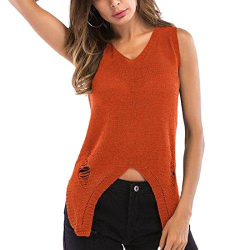 Clubwear Party Mode Évider Débardeurs Chemise Gilet Tricot Manches Femmes Sans Orange 18q44T