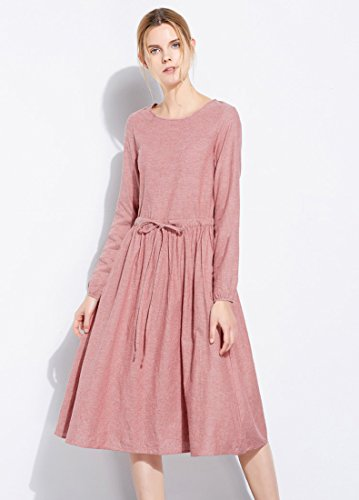 A Midi Scoop Dress Casual long Cotton Sleeve Neck A Line UAISI pink Slim Women's Summer Dress fit 04xwB
