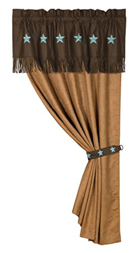 HiEnd Accents Western Embroidered Star Curtain, 60 by 84-Inch, Turquoise