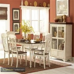 Homelegance Ohana 7 Piece Dining Table Set in White/Warm Cherry