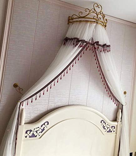 姫ベッドキャノピー,王冠および結晶の装飾が付いている簡単な白い糸のベッドのカーテン カスタマイズ可能なカラー-a