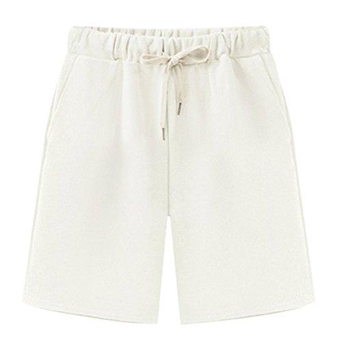 XinDao Women's Soft Knit Elastic Waist Jersey Bermuda Shorts with Drawstring White US 16/Asia - Shorts Terry Drawstring