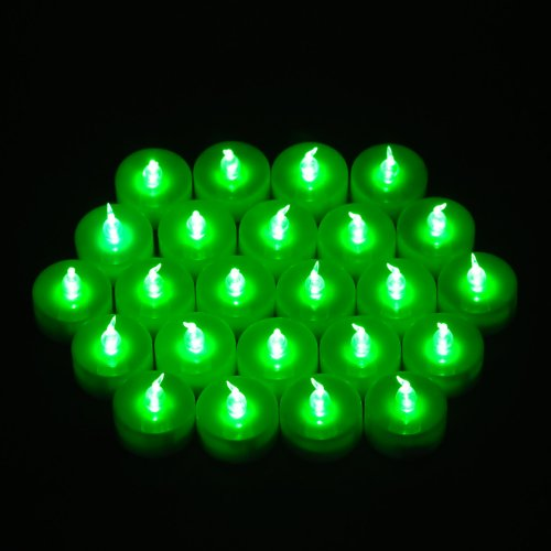 WEANAS 24pcs LED Tea Lights Unscented Flameless Candles Flickering Bulb with Timer Replaceable Battery for St. Patricks Day Decorations Celebration Christmas Birthday Wedding Party (Green)