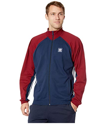 Collegiate Stripe Shirt Rugby - adidas Skateboarding Men's Full Zip Rugby Collegiate Navy/Collegiate Burgundy/White Large