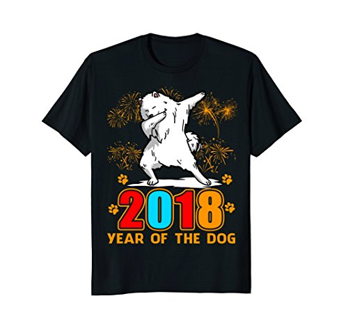 Dabbing Samoyed Year Of The Dog Happy New Year 2018