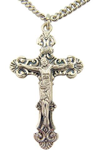Silver Toned Base Fleur De Lis Style Cross Crucifix Pendant, 1 5/8 Inch
