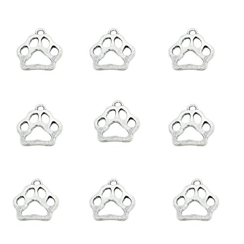 - 80pcs Vintage Antique Silver Alloy Animal Bear&Cat&Dog Paw Charms Pendant Jewelry Findings for Jewelry Making Necklace Bracelet DIY 19x17mm (80pcs Dog Paw)