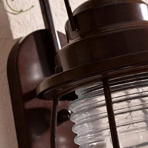 LKNJLL アウトドアウォールランタン、ブラックキャストアルミ、透明なガラスシェードセキュリティライト屋外壁ランプクリエイティブアイアンウォールランプでIP54防水レッドコッパー