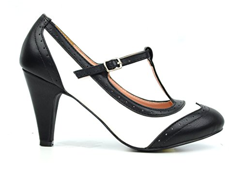 Black Retro Pumps (Chase & Chloe Kimmy-51 Women's Two Tone T-Strap Pump (7.5, Black/White))