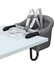TCBunny Hook On Chair, Safe and High Load Design, Fold-Flat Storage and Tight Fixing Clip on Table High Chair, Machine-Washable and Avoid Cracking Fabric, Removable Seat Cushion, Fast Table Chair