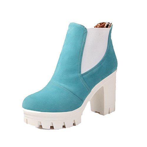 Allhqfashion Women's Round Closed Toe High-Heels Frosted Low-top Solid Boots Blue hTsWpn4