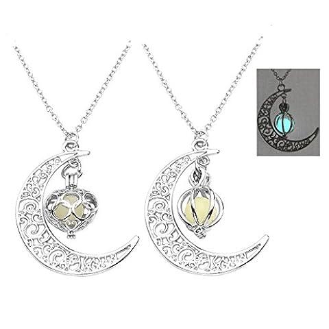 JOVIVI 2pcs Luminous Series Moon Love Heart/Pumpkin Pendant Necklace Fluorescent Necklace,Glow in the Dark (Magical Crescent Moon Necklace)