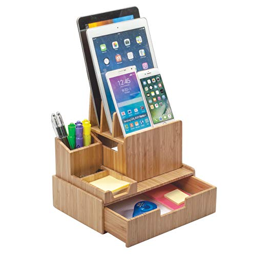 Bamboo Office Organizer Complete Set Includes: Charging Station, Pencil & Pen Holder w/Tray for Notepads, Drawer for Office Supplies & Stationary