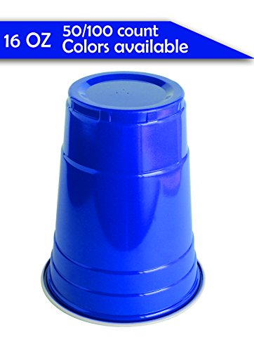 Jaaia Disposable/Reusable Plastic Party Cups (birthday,graduation,bachelorette,wedding,beach,garden,beer pong) 16 Ounce (16 OZ) 50/100 Count Red/Blue, High Quality (Blue, 100-Count) from Jaaia