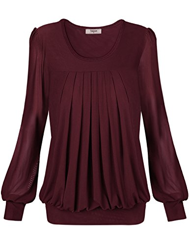 Chiffon Blouse Tops,Timeson Womens Basic Elegant Soft Round Neck Chiffon Blouse Tops XXX-Large Wine (Fancy Dress Xxxl)